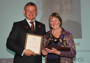 Margot Tiffany BHSI receiving the Bodynfoel Award in 2012 from BHS President Martin Clunes