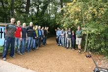 Marwell Zoo staff and Southern Scottish Energy (SSE) corporate volunteers showing off the renovated bridleway