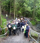 Walkers, cyclists and horse riders gather to support the presentations at the launch of the Yellow Brick Road Bridleway
