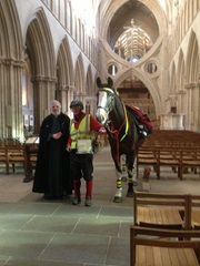 William and Strider inside Wells Cathedral