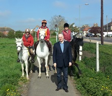 Riders with Councillor Geoff Hill at the launch of the Jubilee Ride